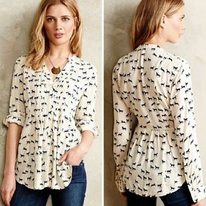 Anthropologie Maeve Horse Print Pintuck Buttondown
